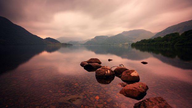 Фото бесплатно озеро, рок, горы