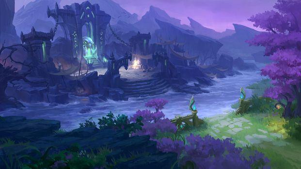 Photo free castle, river, mountains