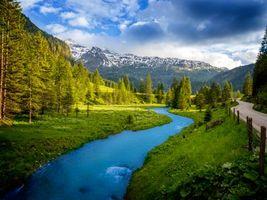 Заставки Австрия, горная река, горы