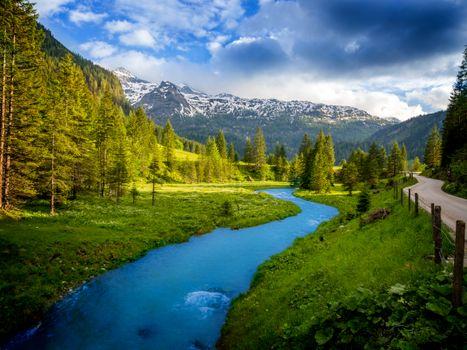 Фото бесплатно Австрия, горная река, горы