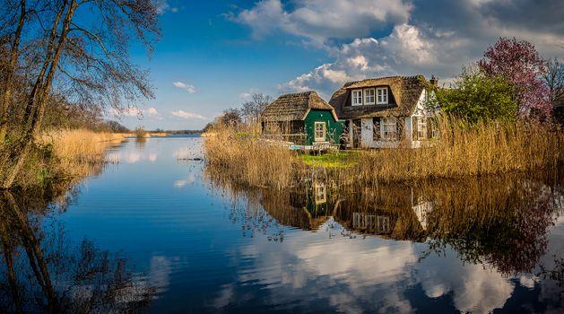Бесплатные фото Ankeveen,Северная Голландия,Нидерланды,река,домик,дом,деревья,пейзаж