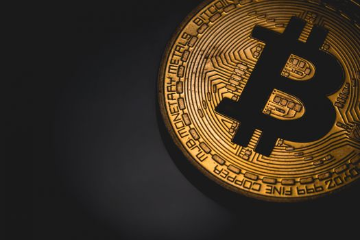 Photo free Bitcoin, engraving, black background