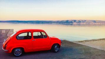 Заставки хорватия,рано,утро,красный,старинная машина,автомобиль,автомашина