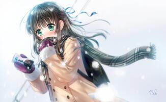 Фото бесплатно каштановые волосы, шарф, аниме девушка