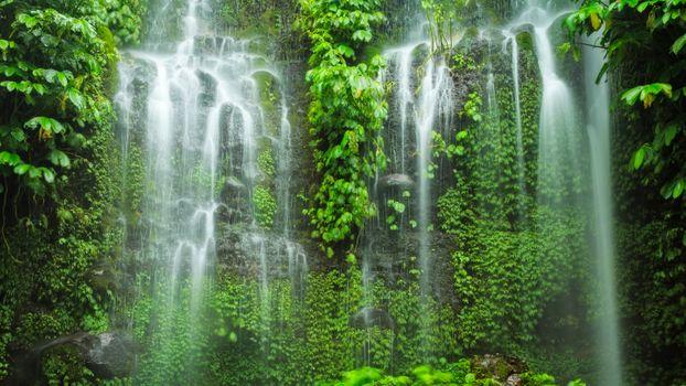 Photo free rock waterfall, Indonesia, green