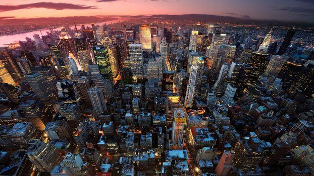 Заставки манхэттен, городской пейзаж, небоскребы
