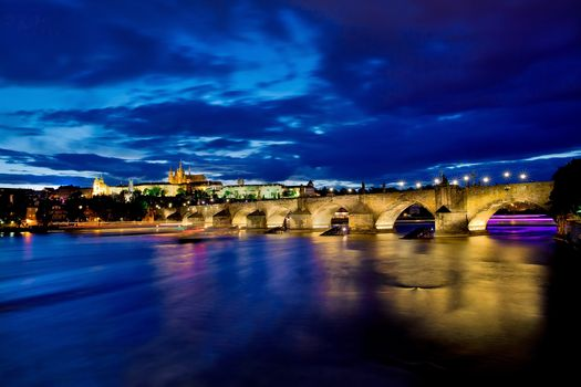 Заставки ночь, Prague, Charles bridge