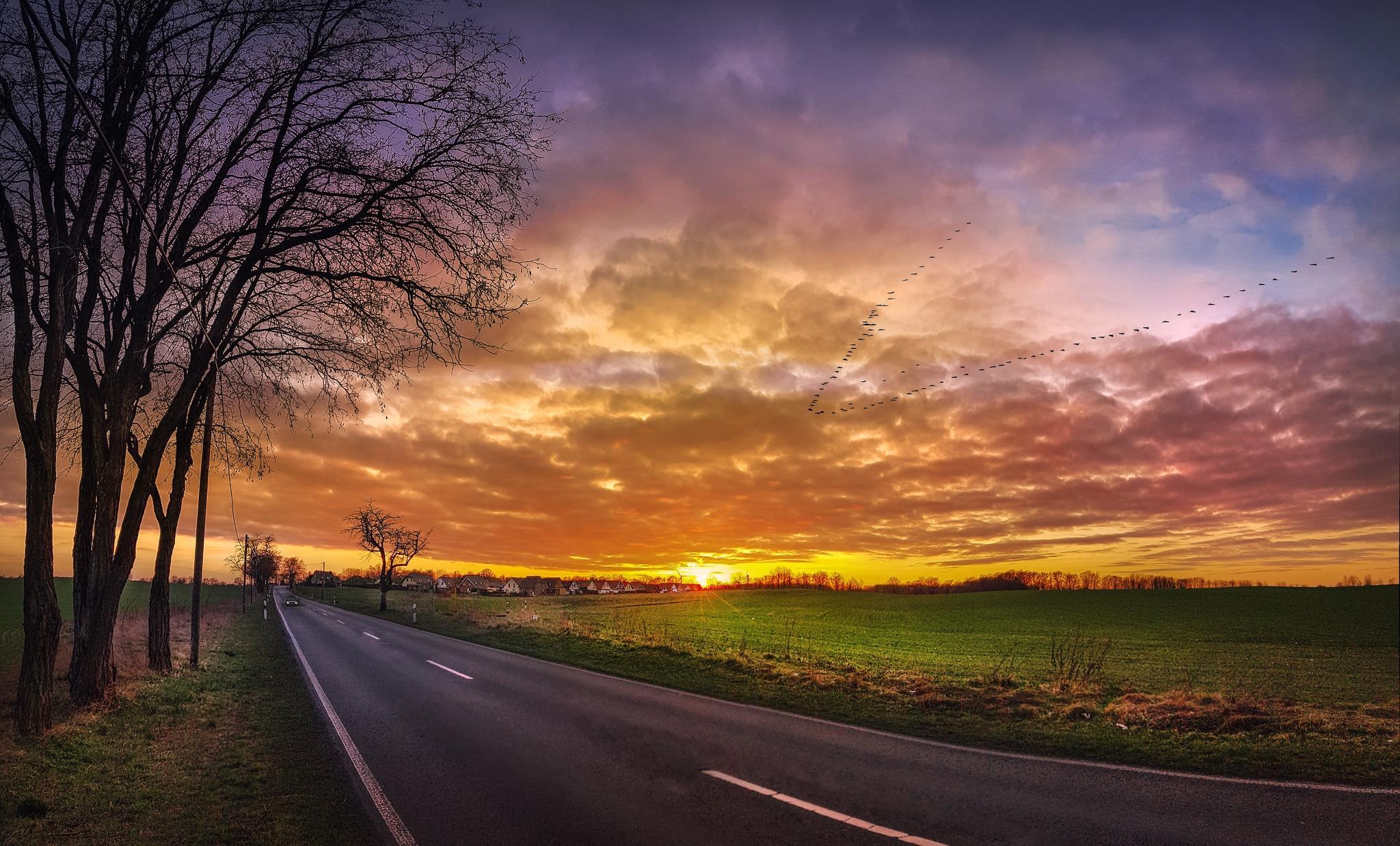 почитаемый фото закат на дороге соблюдать все правила