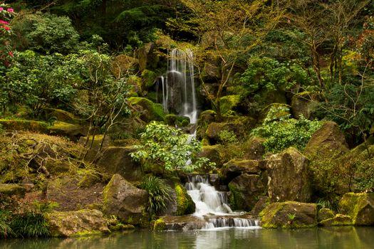 Portland Japanese Garden Waterfall, водопад, парк, сад, камни