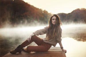 Фото бесплатно женщины, туман, красный