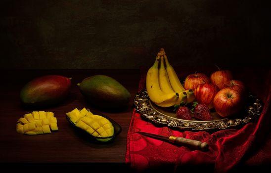 Photo free food, knife, apples