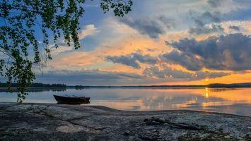Фото бесплатно закат, лодка, отражение