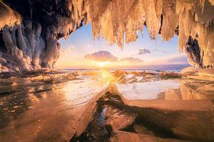 Бесплатные фото закат,пещера,зима,озеро Байкал,Россия,лёд,пейзаж