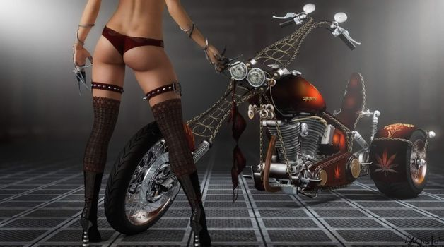 Фото бесплатно фэнтези, девушки, велосипеды