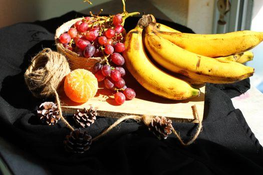 Фото бесплатно еда, мандарин, виноград