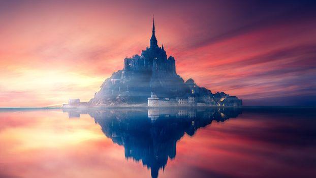Фото бесплатно замок, отражение, закат