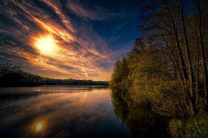 Бесплатные фото закат,осень,озеро,деревья,пейзаж