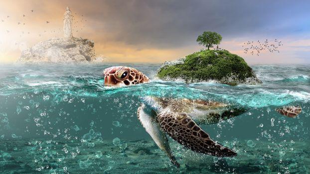 Фото бесплатно фантазии существ, подводные, остров