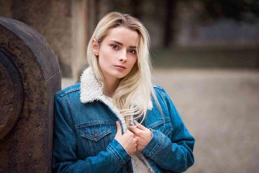 Photo free jeans jacket, blonde, photo model