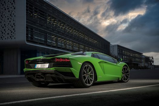 Photo free Lamborghini Aventador S, green, auto