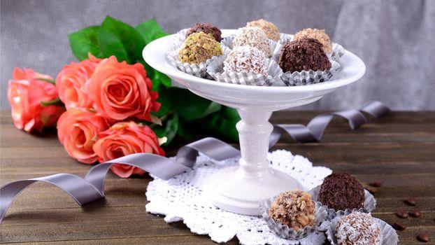 Photo free ribbon, roses, chocolate