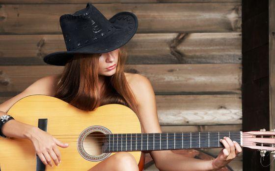 Фото бесплатно женщины, гитара, шляпа