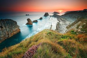 Costa Quebrada, Arnia, Cantabria, закат, море