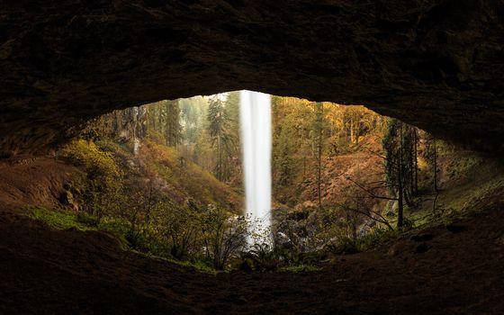 Заставки водопад, пещера, лес