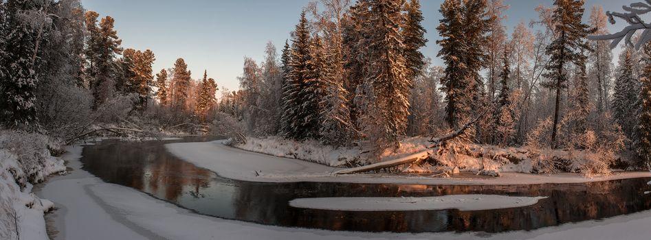 Фото бесплатно зима, панорама, река