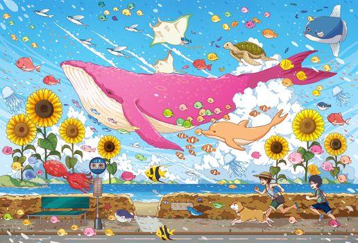 Фото бесплатно аниме мальчиков, бег, сюрреализм