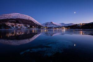 Фото бесплатно горы, вечер, отражение