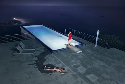 Заставки вот как бывает, в бассейне, девушка