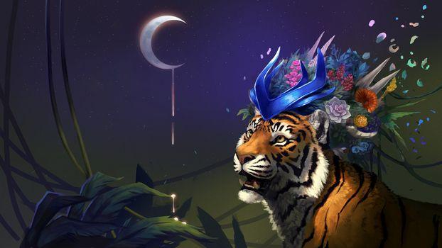 Photo free tiger, month, fantasy