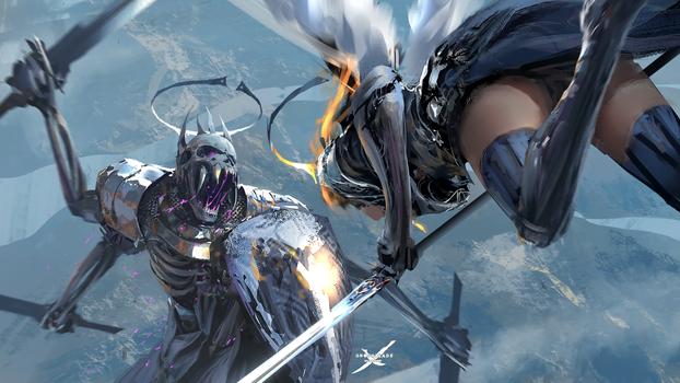 Бесплатные фото цифровое искусство,произведения искусства,WLOP,женщины,бедра,меч,щит,крылья,доспехи