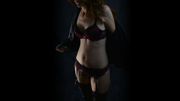 Фото бесплатно рыжий, чулки, нижнее белье