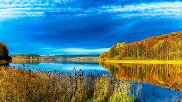 Бесплатные фото закат,осень,река,деревья,пейзаж