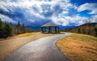 Бесплатные фото Нью-Гемпшир,Новая Англия,дорога,горы,беседка,пейзаж
