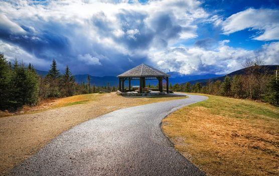 Фото бесплатно Нью-Гемпшир, Новая Англия, дорога, горы, беседка, пейзаж