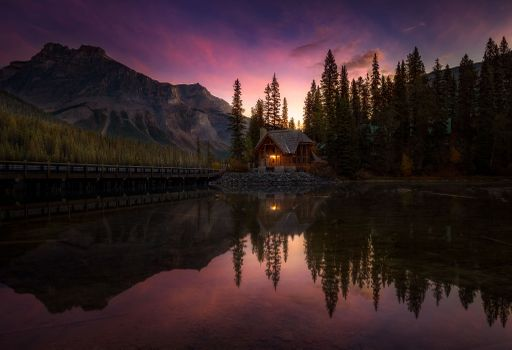 Photo free Emerald Lake, bridge, mountains