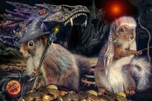 Бесплатные фото Повелитель Белок-Дракон,art,фантастика
