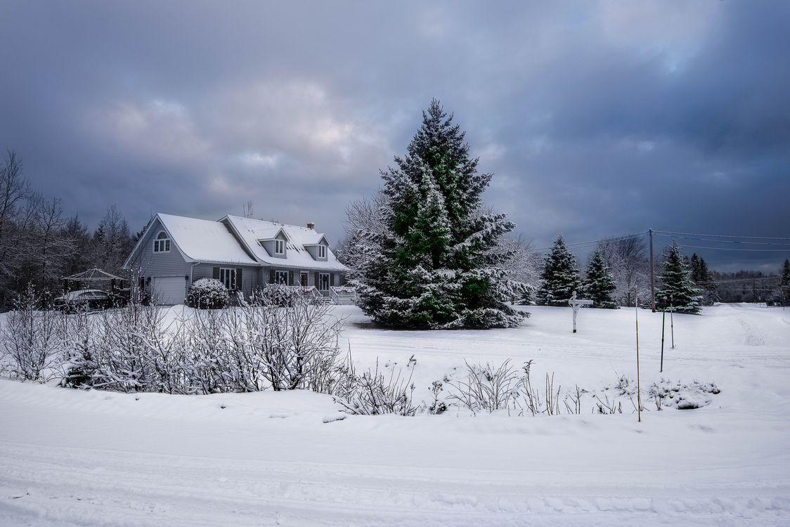 Фото бесплатно Машина, Канада, Атлантика, зима, снег, поле, дом, закат, деревья, пейзаж, пейзажи
