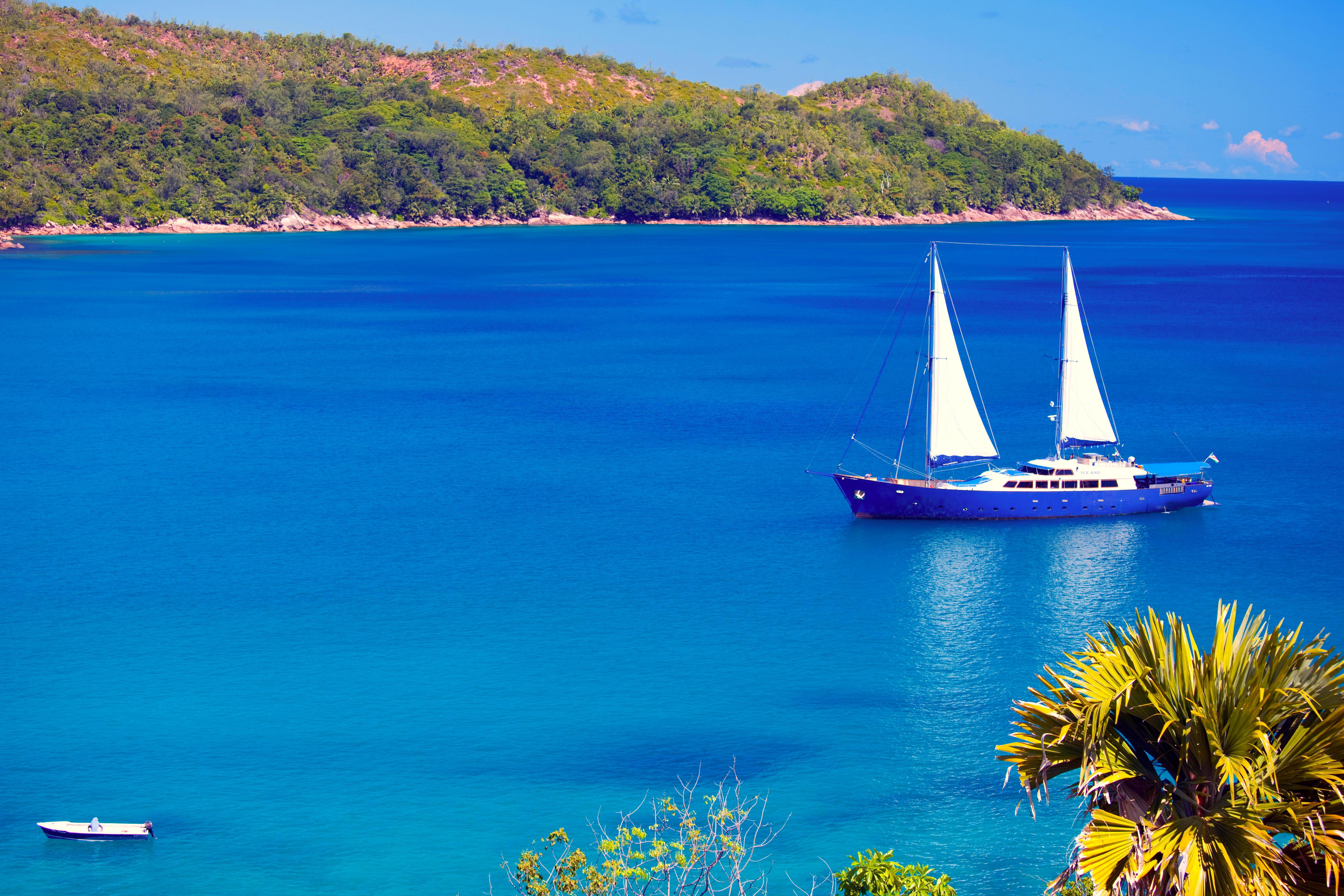 Обои море, острова, яхта