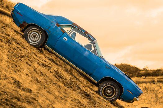 Photo free car, retro, blue