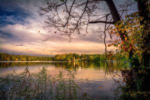 Заставки закат, озеро, деревья, берег, пейзаж, Мёлензее, Йоркшир