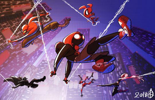 Photo free Spiderman Into The Spider Verse, artwork, Behance
