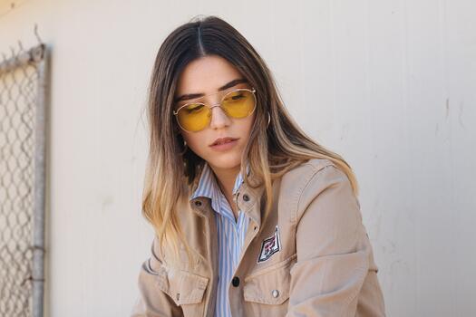 Photo free sunglasses, jacket, model
