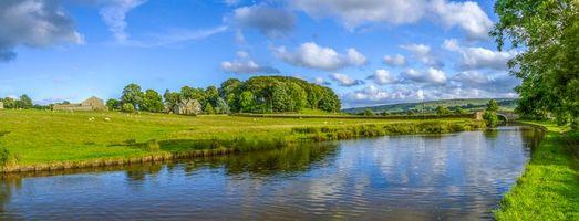 Бесплатные фото Йоркшир,Англия,река,канал,мост,поля,дома