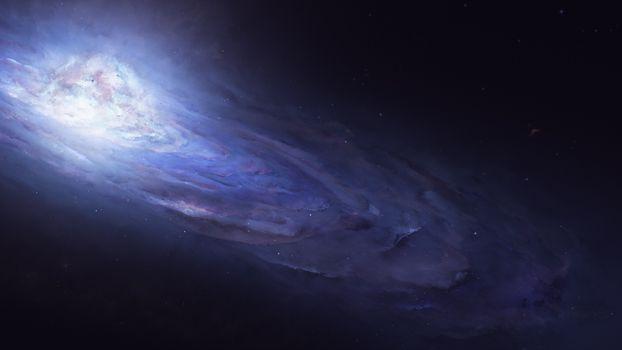 Фото бесплатно галактика, голубая туманность, андромеда