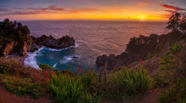Фото бесплатно водопад, Big Sur, море