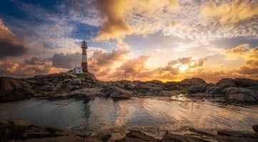 Фото бесплатно Норвегия, Dalane, Рогаланда, море, скалы, маяк, закат, пейзаж